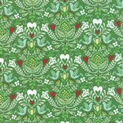 Moda North Woods by Kate Spain - 4804 - Stylised Winter Floral with Doves on Green - 27242 16 - Cotton Fabric
